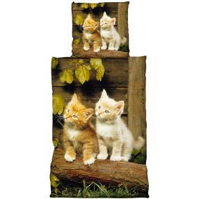 AllSeasons Bettwäsche 2tlg. Katzen, beige-braun