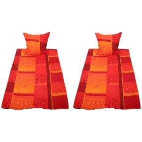 AllSeasons Bettwäsche 4-teilig, Karos orange