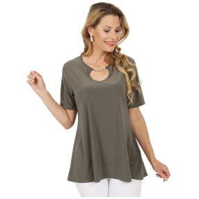 CANDY CURVES Shirt mit Schmuckelement khaki
