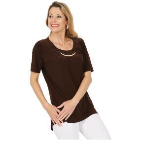 CANDY CURVES Shirt mit Schmuckelement braun