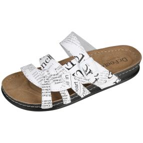 Dr. Feet Damen Lederpantolette, schwarz, weiß
