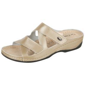 Dr. Feet Damen Lederpantolette, beige, taupe