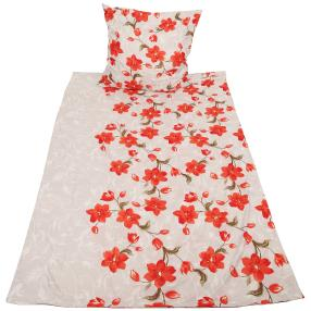 CoolSummer Bettwäsche 2-teilig, grau-rot floral