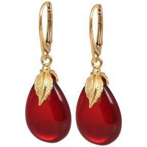 Ohrhänger 925 vergoldet Bernstein rubinrot