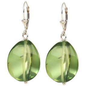 Ohrhänger 925 Silber, Bernstein grün