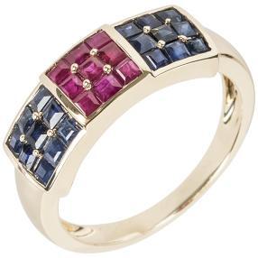 Ring 375 Gelbgold Saphir Rubin