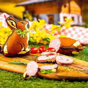 Ostersalami Hase mit Schleife 300g