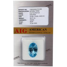 Swiss Blue Topas behandelt, min. 30 ct.
