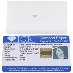 Diamant Tropfen champagnerfarbig, min. 0,25 ct.