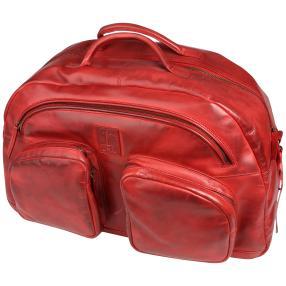 T2B Rindleder Reisetasche dark red