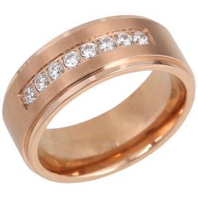 Ring Titan vergoldet mit Zirkonia