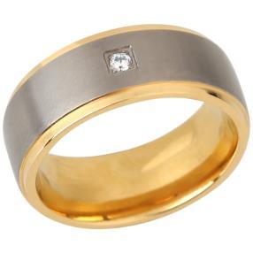 Ring Titan bicolor Zirkonia, 4,3 g