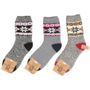 3er Pack Damen-Natur-Alpaka-Socken multicolor