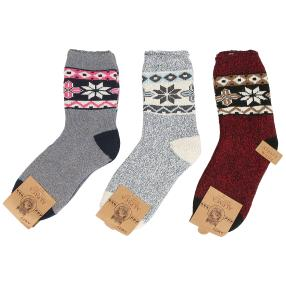 3er Pack Damen-Natur-Alpaka-Socken multicolor