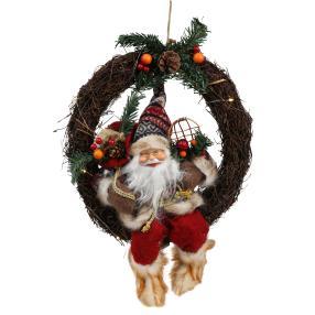 Weihnachtsmann im Kranz, rot, mit LED
