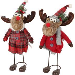 Weihnachts-Elche wackelnd 2er-Set 35cm