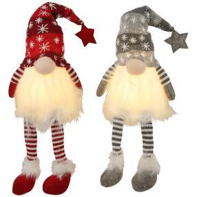 LED Gnome sitzend 2er-Set, grau-rot 30cm