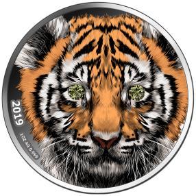 Indischer Tiger mit grünen Diamantaugen