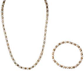 Set Kette+Armband Perle+Hämatit vergoldet