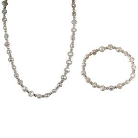 Set Kette+Armband Perle+Hämatit