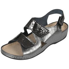 Dr. Feet Ledersandalen, dunkelgrau, silber