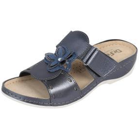 Dr. Feet Lederpantolette, dunkelblau