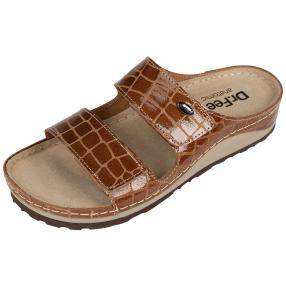 Dr. Feet Lederpantolette, beige, hellbraun