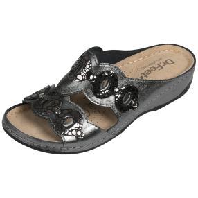 Dr. Feet Lederpantolette, pewter
