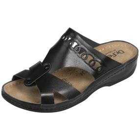 Dr. Feet Lederpantolette, schwarz