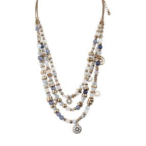 crystal blue Collier dreireihig