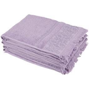 Handtuchset 4-teilig, lila, mit Fransen