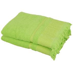Duschtuch 2-teilig, grün mit Fransen