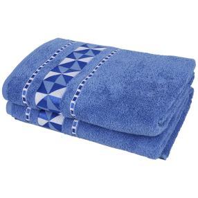 Duschtuch 2tlg. grafisch blau 70x140 cm