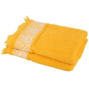 Duschtuch Ornament, 2er Set gelb