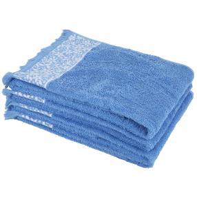 Handtuch 4-teilig, blau mit Blumenranke
