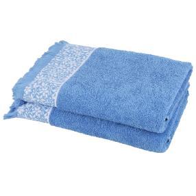 Duschtuch 2-teilig, blau mit Blumenranke