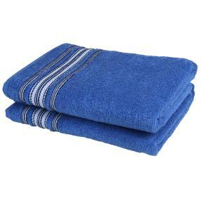 Duschtuch 2tlg. Streifen blau 50x100 cm