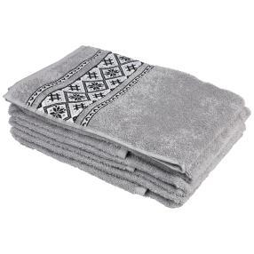 Handtuch 4tlg. Bordüre grau 50x100 cm