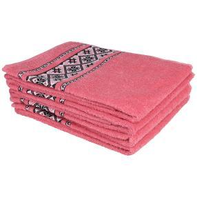 Handtuch 4tlg. Bordüre rosa 50x100 cm