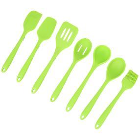 Silikonlöffel mit Ablagefunktion, 7-teilig grün