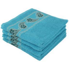 Handtuch 4-teilig, blau, Bordüre