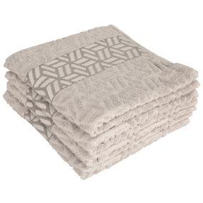 Handtuch 4-teilig hellgrau, grafisch