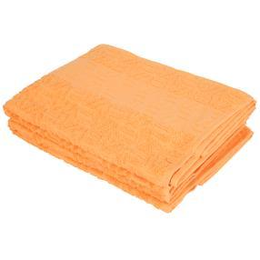Duschtuch 2-teilig orange, mit Bordüre