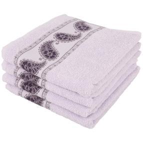 Handtuchset 4-teilig, flieder/lila, Bordüre