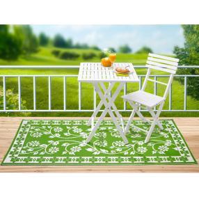 Outdoor Teppich floral, weiß-grün