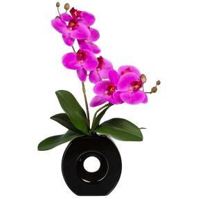 Orchideenarrangement lila in Vase, real-touch