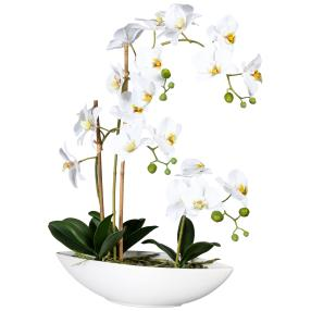 Orchideen-Arrangement weiß, 60 cm, real-touch