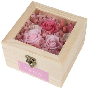 Geschenkbox Rosen, rosé, Pinienholz