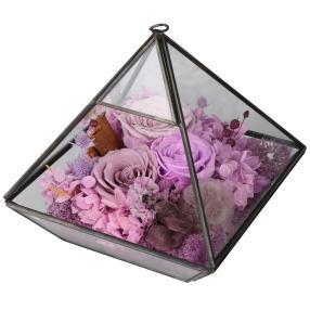 Glaspyramide mit Rosen, flieder