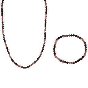 Collier + Armband, Granat mit Turmalin, Hämatit